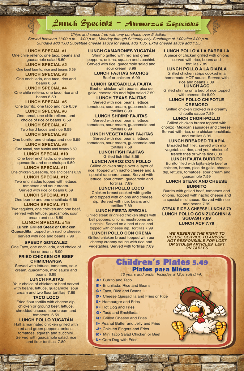 Fiesta Youngsville Lunch Specials